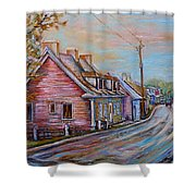 Iles D'orleans Quebec Village Scene Shower Curtain