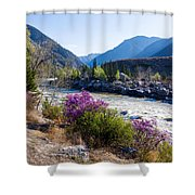 Ilgumensky Rapids At Spring Time. Altay Mountains Shower Curtain