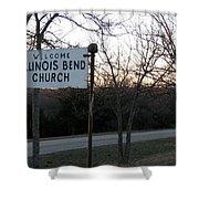 Illinois Bend Church Sign Shower Curtain