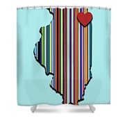 Illinois With Love Geometric Map Shower Curtain