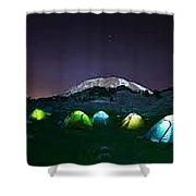 Illuminated Yellow Camping Tent At Night Shower Curtain