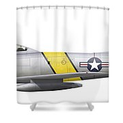 Illustration Of A North American F-86f Shower Curtain
