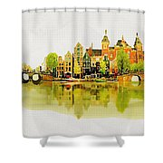 Illustration Of Amstradam In Watercolour Shower Curtain