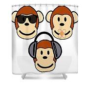 Illustration Of Cartoon Three Monkeys See Hear Speak No Evil Shower Curtain