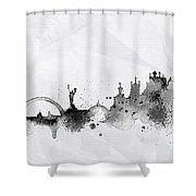 Illustration Of City Skyline - Kiev In Chinese Ink Shower Curtain
