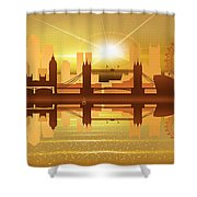 Illustration Of City Skyline - London  Sunset Panorama Shower Curtain