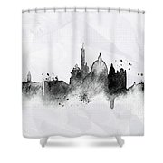 Illustration Of City Skyline - Rome In Chinese Ink Shower Curtain