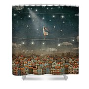 Illustration Of  Cute Houses And  Pretty Girl   In Night Sky Shower Curtain