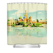Illustration Of Moscow In Watercolour Shower Curtain