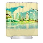 Illustration Of Singapore In Watercolour Shower Curtain
