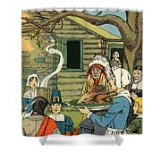 Illustration Of The First Thanksgiving Shower Curtain