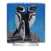 I'm Not Talking To You - Penguins Shower Curtain