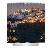 Imerovigli After Sunset, Santorini Shower Curtain