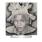 Immortalizing In Stone Jean Michel Basquiat Drawing Shower Curtain