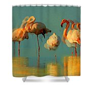 Impressionist Flamingo Abstract Shower Curtain by Shelli Fitzpatrick