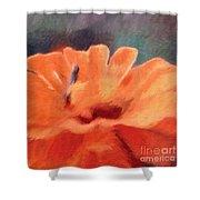 Impressionist Painting Of An Orange Mum Shower Curtain