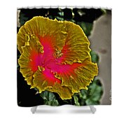 Impressionistic Hibiscus Yellow And Red  Shower Curtain