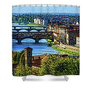 Impressions Of Florence - Long Blue Shadows On The Arno River Shower Curtain