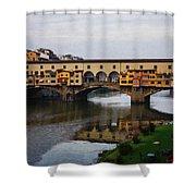 Impressions Of Florence - Ponte Vecchio Autumn Shower Curtain
