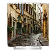 Impressions Of Florence - Walking On The Silver Street In The Rain Shower Curtain