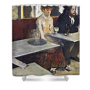 In A Cafe Shower Curtain by Edgar Degas
