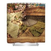 In A Rose Garden Shower Curtain by Sir Lawrence Alma-Tadema
