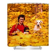 In A Yellow Wood - Paint Shower Curtain