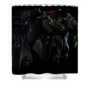 In Black Times Three Shower Curtain