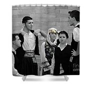 In Greek Discussion Shower Curtain