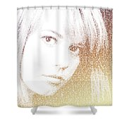 Silhouette Of Girl Through Letters Shower Curtain