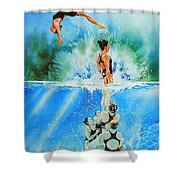 In Sync Shower Curtain by Hanne Lore Koehler
