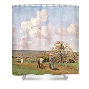 In The Fields Shower Curtain by Camille Pissarro