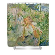 In The Garden At Roche Plate Shower Curtain by Berthe Morisot