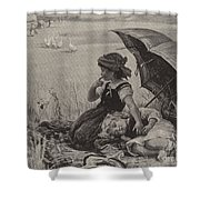 In The Harvest Field, Guardians Of The Luncheon Basket Shower Curtain