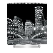 In The Heart Of A Black And White Town Shower Curtain