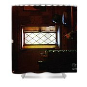 In The Lattice-windowed Attic Shower Curtain