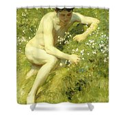 In The Meadow Shower Curtain by Henry Scott Tuke
