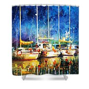 In The Port - Palette Knife Oil Painting On Canvas By Leonid Afremov Shower Curtain