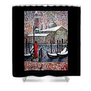 In The Snow In Venice Shower Curtain