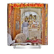 In The Temple Door Shower Curtain