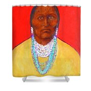 In The Time Of Crazy Horse Shower Curtain by Johanna Elik