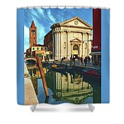 In The Waters Of The Many Venetian Canals Reflected The Majestic Cathedrals, Towers And Bridges Shower Curtain