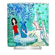 In The White Lady's Cave Shower Curtain by Sushila Burgess