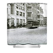 In This 1913 Photo, A Cable Car Drives Past The Littlefield Building And Dristill Hotel On Sixth Str Shower Curtain