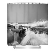 Incoming  La Jolla Rock Formations Black And White Shower Curtain