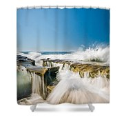 Incoming  La Jolla Rock Formations Shower Curtain