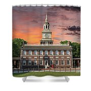 Independence Hall Philadelphia Sunset Shower Curtain