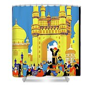 India, Castle, People, Street Shower Curtain