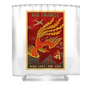 India, China And Japan, The Bird Of Paradise Countries - Air France Vintage Airline Travel Poster Shower Curtain