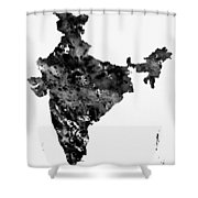 Map Of India-black Shower Curtain